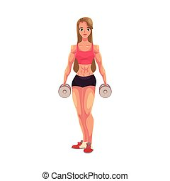 Young woman, female bodybuilder, weightlifter working out...