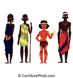 Native black skinned people of African tribes and Australian...
