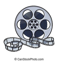 Classical motion picture, cinema film reel, sketch style...