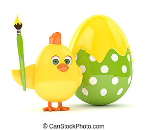 3d render of Easter chick with egg - 3d render of Easter...