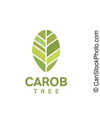 Carob tree leaf logo. Template, vector - Carob tree leaf...