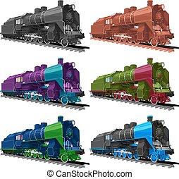 Set of old steam locomotive. - Vector ilustration set of an...