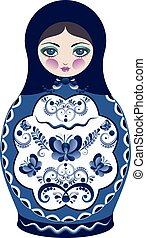 Blue Matryoshka Doll - Decorative matryoshka doll with folk...