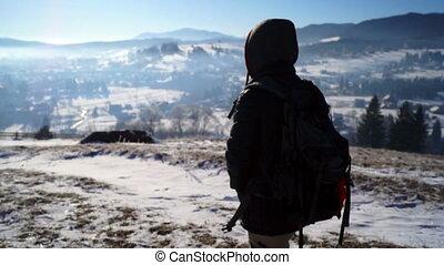 Snow Hiking Blizzard Man Cold Winter Trekking Walking Male...