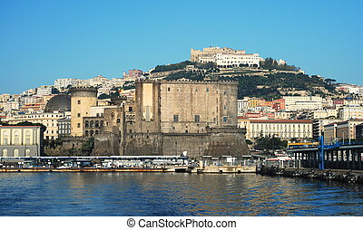 Naples city port - View of Naples port with Castel Nuovo and...