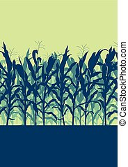 Corn field evening or morning light landscape vector...