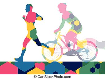 Triathlon marathon active young men swimming cycling and...