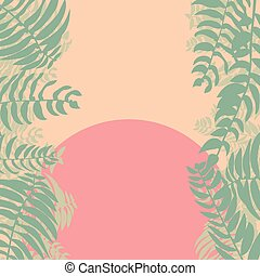 Forest jungle foliage leaves background with sunset vector