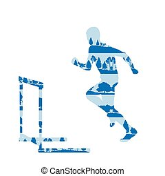 Hurdler in race vector background concept made of forest...