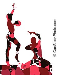 Gymnast women with ball in abstract background mosaic...