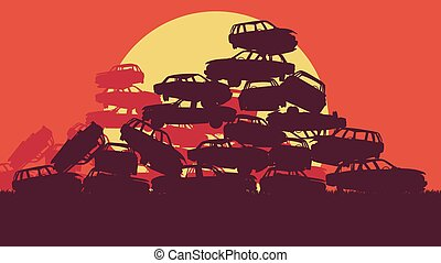 Cars in salvage junkyard in evening with sunset vector...