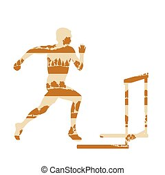Hurdler in race vector background concept made of forest trees fragments isolated
