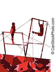 Active children sport boy silhouettes on uneven bars in...