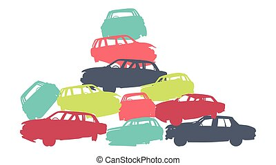 Damaged car pile in wrecking yard colorful vector background...