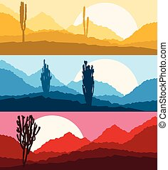 Desert cactus landscape with mountains and hill silhouettes...