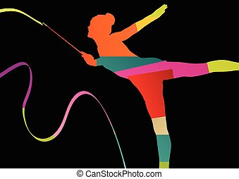 Girl calisthenics sport gymnast silhouette acrobatics flying...