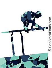 Active children boy sport silhouette on parallel bars in abstract mosaic background illustration