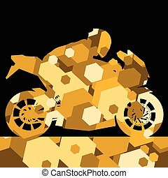 Sport motorbike rider motorcycle silhouette in abstract wax...