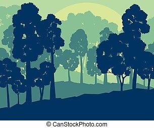Mystical forest landscape sunset vector background vintage...