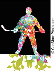Hockey player sport silhouette made of ice snowflakes vector...