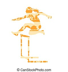 Woman athlete hurdle race vector background concept made of...
