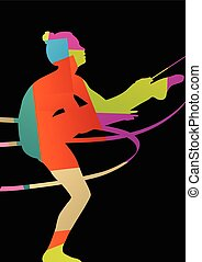 Girl calisthenics sport gymnast silhouette acrobatics flying ribbon abstract background illustration