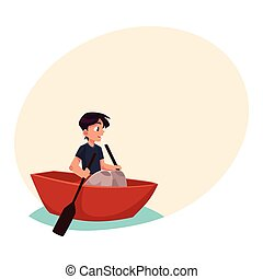 Boy swimming in little boat, kayak, summer vacation concept,...