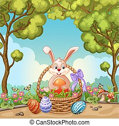 Cute Easter greeting card with bunny Easter