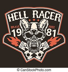 Motorcycle t-shirt graphics. Skull rider with pistons,...