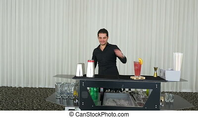 Bartender juggling bottles and shaking cocktail at a mobile...