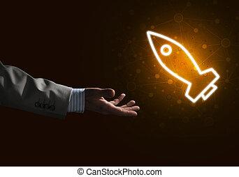 tela, concepto, cohete, Palma, presentación, icono,...
