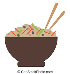 Isolated ramen bowl on a white background, Vector...