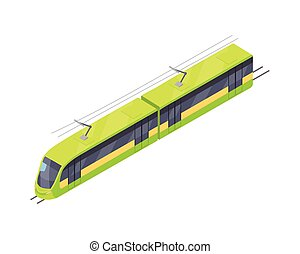 Tramway Vector Icon in Isometric Projection - Tramway...
