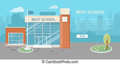 High School Building Vector in Flat Style Design - High...
