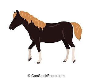 Horse Vector Illustration in Flat Design - Black horse with...