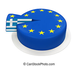 Flag of Greece as Piece of European Union Cake isolated on...