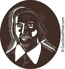 16th Century Poet Oval Woodcut