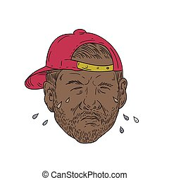 African-American Rapper Crying Drawing - Drawing sketch...