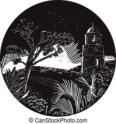 Belfry Tower On Hill Trees Circle Woodcut - Illustration of...