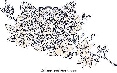 Cat Head Jasmine Flower Mandala - Mandala style illustration...