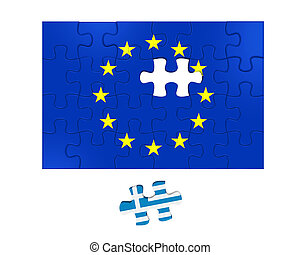 Grexit Puzzle Pieces isolated on white background. 3D render