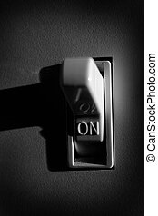 Light Switch for Turning on Power to Lamps - Closeup of...
