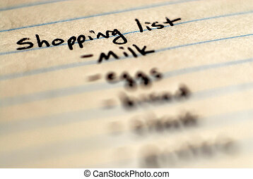 Shopping List Written on Notebook for Organization