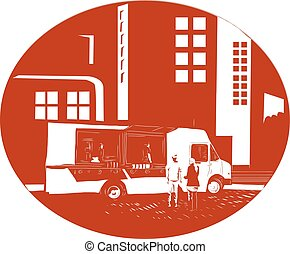 Food Truck City Buildings Oval Woodcut