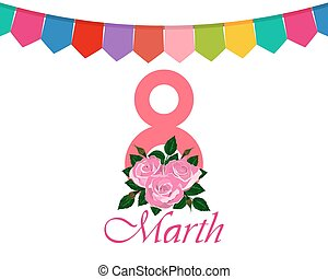Postcard Greetings from the Women s Day March 8 vector