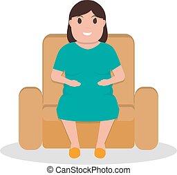 mujer, Sentado, sillón, grasa,  vector, caricatura
