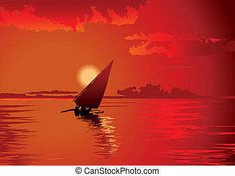Sunset - Beautiful voyage at sunset Vector art-illustration...