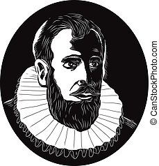 Henry Hudson Explorer Woodcut - Illustration of Henry...