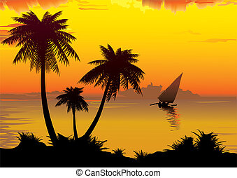 Sunrise. - The shore of the ocean with palm trees. Vector...