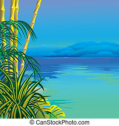 Tropical beach. Vector art-illustration.